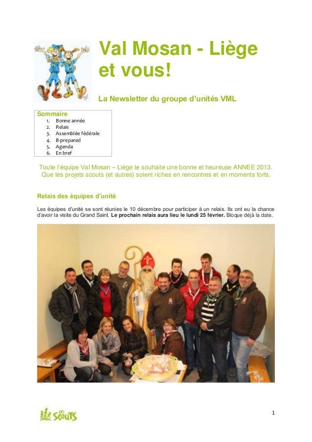 Val Mosan - Liège                          et vous!                          La Newsletter du groupe d'unités VMLSommaire ...