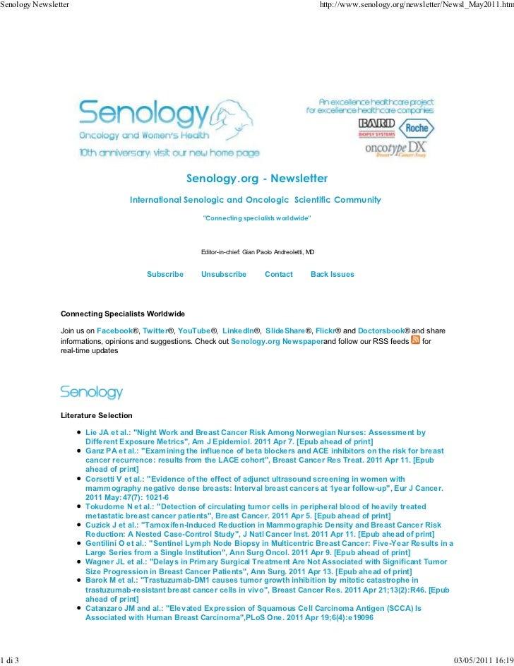 Senology Newsletter                                                                                http://www.senology.org...