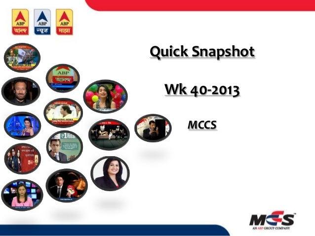 Quick Snapshot Wk 40-2013 MCCS