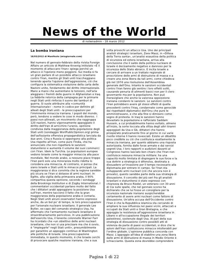 News of the World                                            di notwnadmin - 18 marzo 2012La bomba iraniana               ...