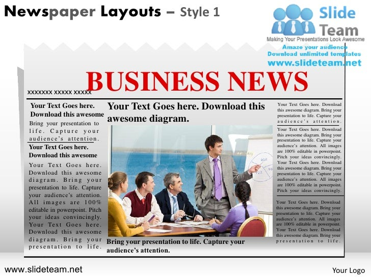 Newspaper Layouts – Style 1    xxxxxxx xxxxx xxxxx            BUSINESS NEWS     Your Text Goes here.                     Y...