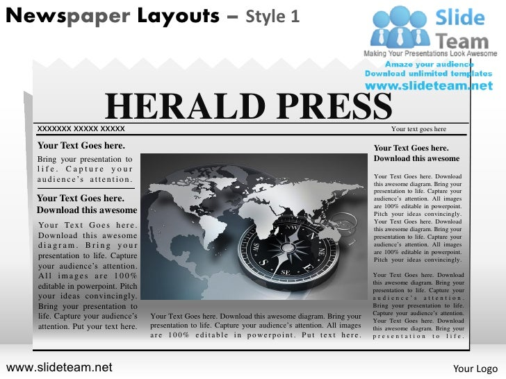 News On Newspaper Layouts Style Design  Powerpoint Presentation Temp