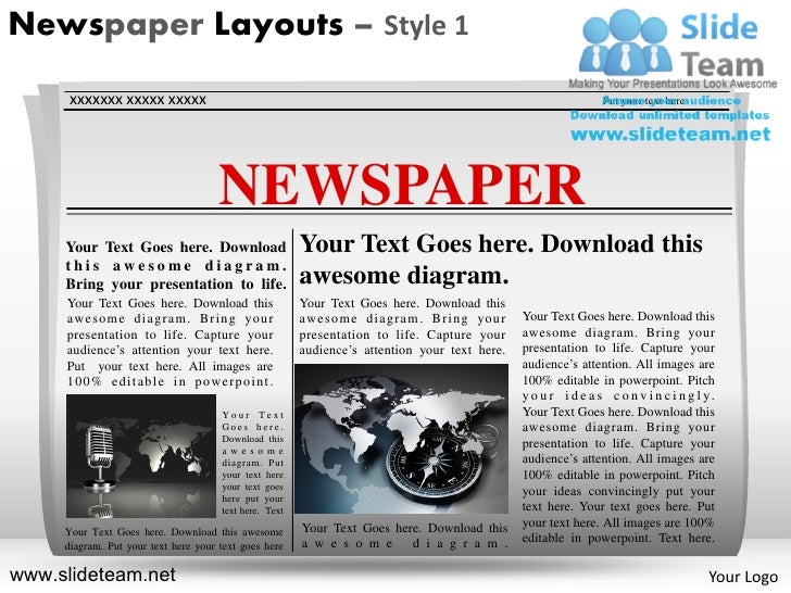 News On Newspaper Layouts Style Design 1 Powerpoint Presentation Temp…