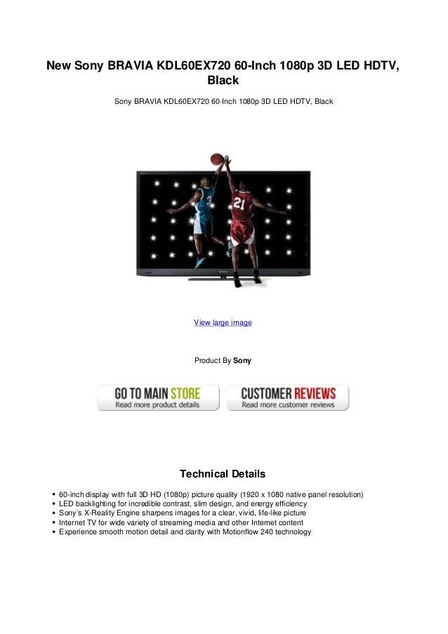 New sony bravia kdl60 ex720 60 inch 1080p 3d led hdtv black