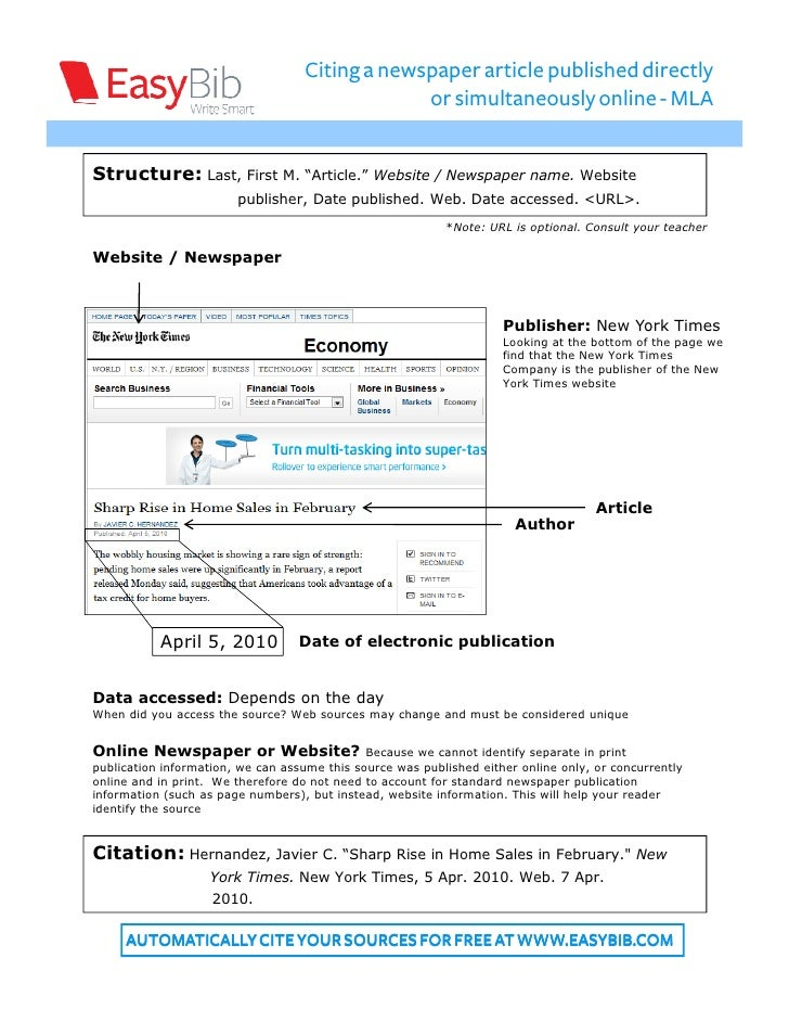 mla format newspaper article online How to cite online sources using mla style  if no author name is available,  use the title of the article followed by the year  in some cases, such as blog  posts, lecture notes, ebook formats, or social media updates, you are.