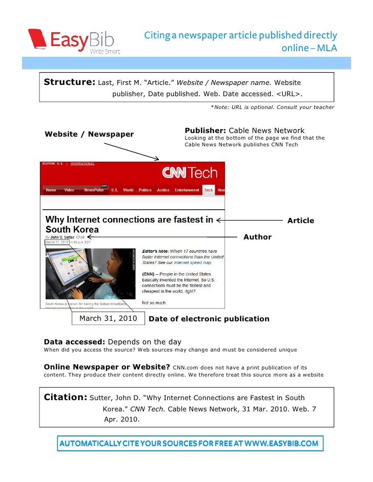 Autocite a Newspaper Article in MLA Format