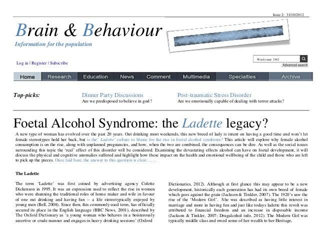 Issue 2: 31/10/2012Brain & BehaviourInformation for the population                                                        ...
