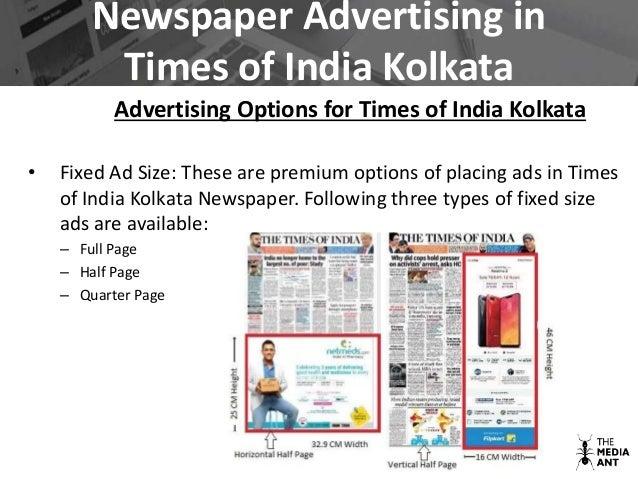 Newspaper Advertising in Times of India Kolkata