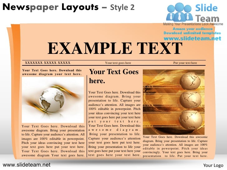newspaper layouts design 2 powerpoint ppt slides. Black Bedroom Furniture Sets. Home Design Ideas