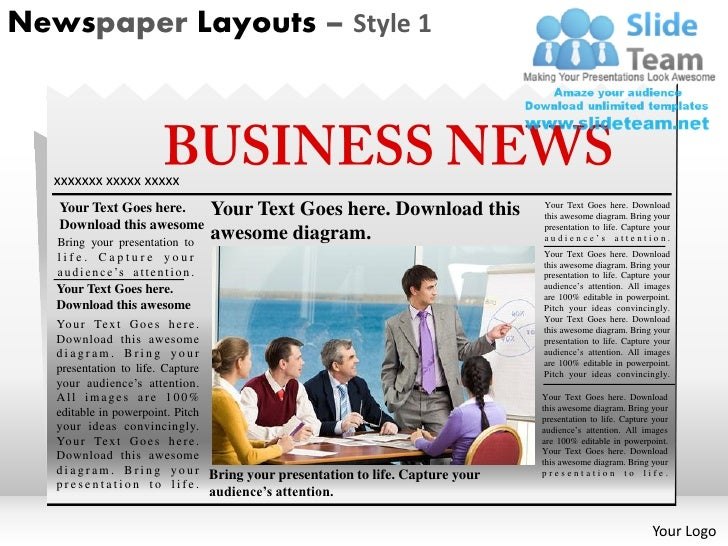 Newspaper Layouts Style 1 Powerpoint Presentation Slides Ppt Templates