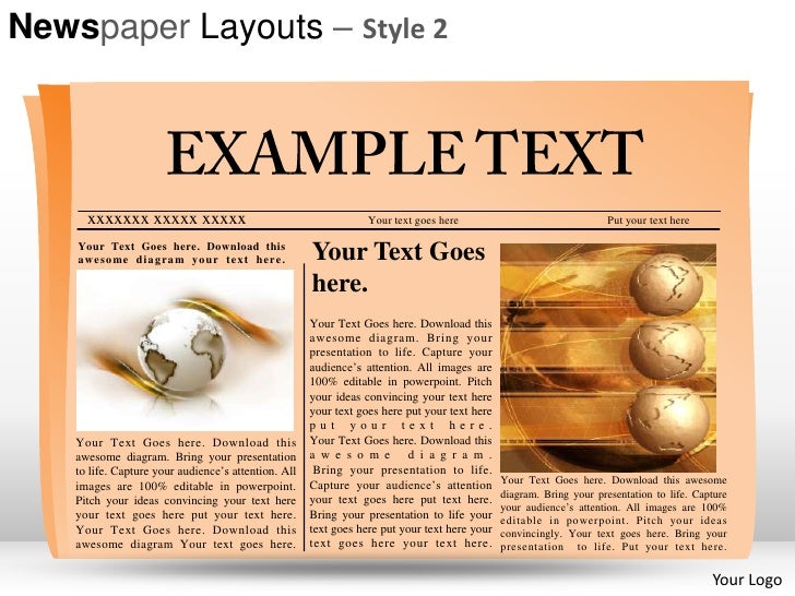 newspaper layouts style 2 powerpoint presentation templates, Modern powerpoint