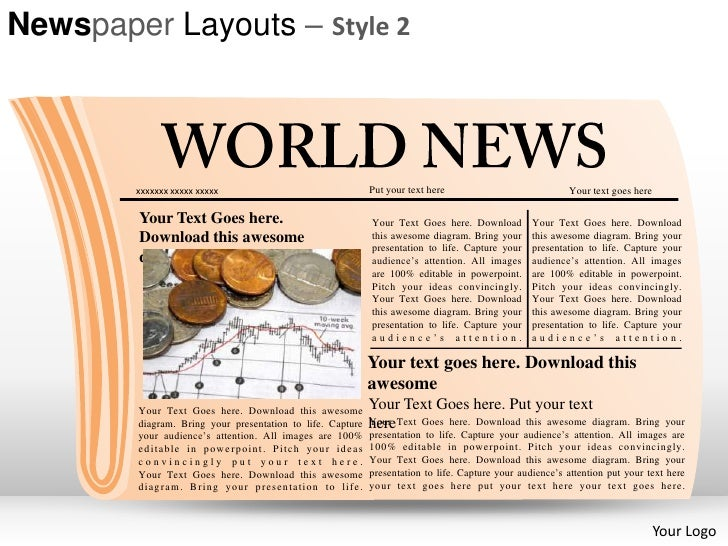 Newspaper Layouts Style  Powerpoint Presentation Templates