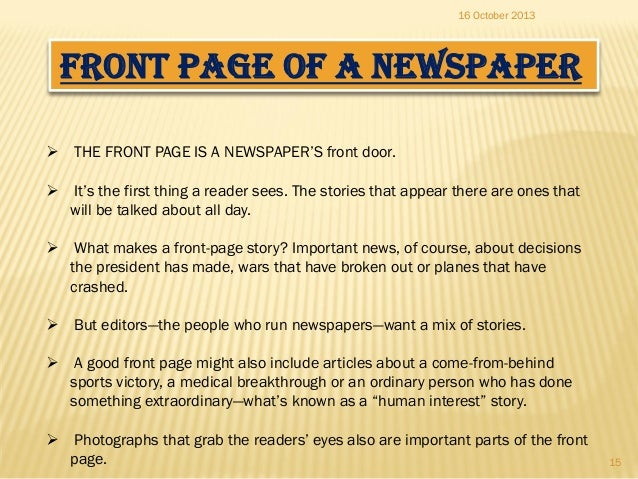 How to write a newspaper front page article published