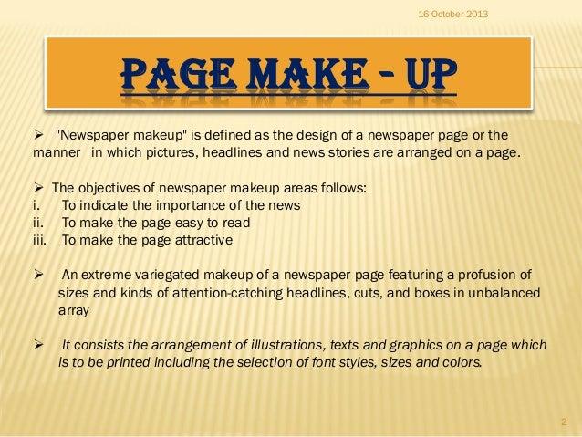 Newspaper Make Up