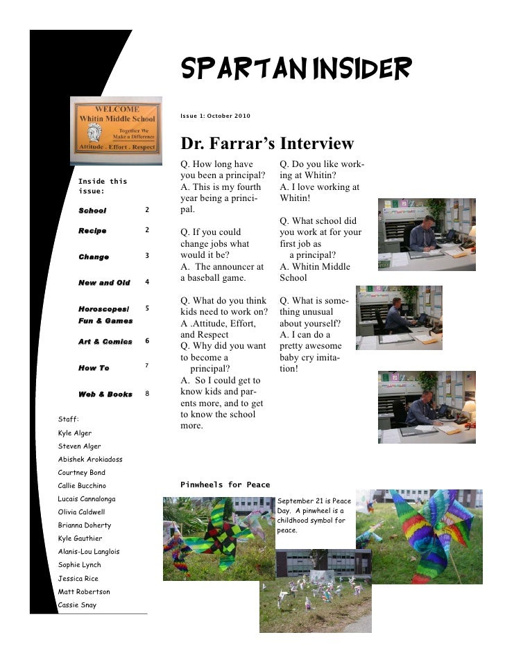 Spartan Insider                           Issue 1: October 2010                              Dr. Farrar's Interview       ...