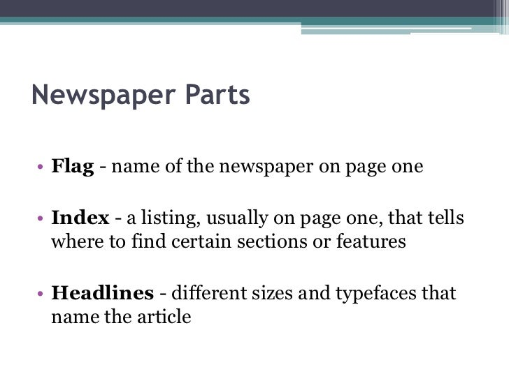 Parts of a newspaper article