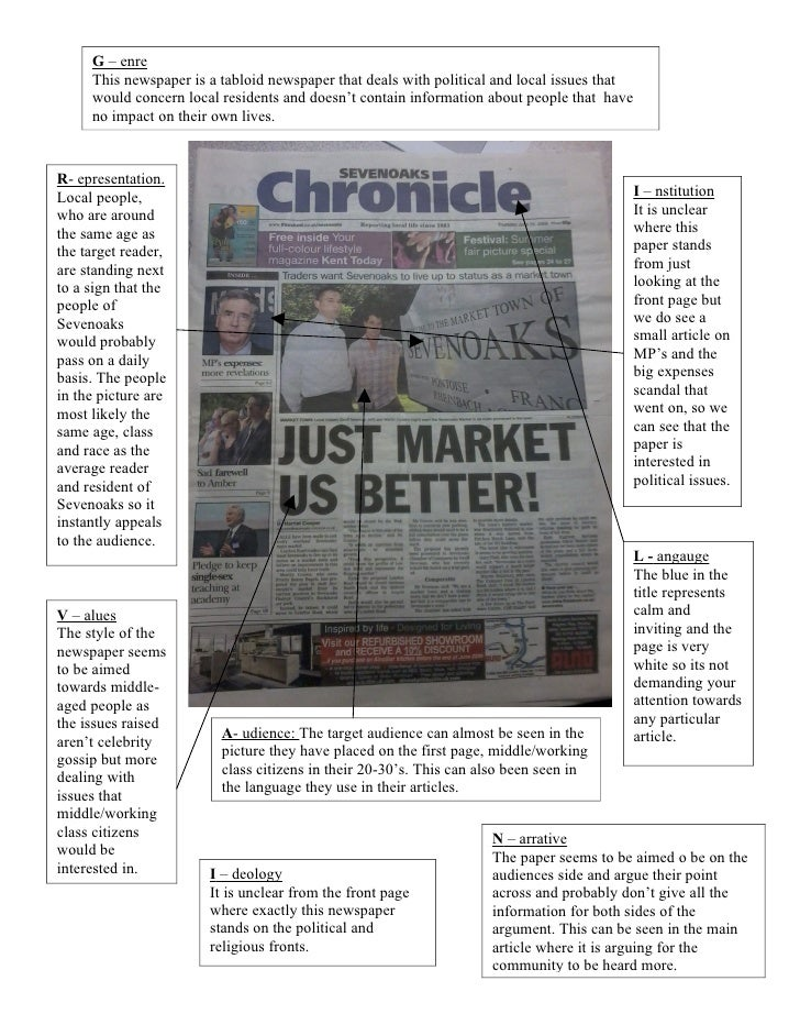 G – enre      This newspaper is a tabloid newspaper that deals with political and local issues that      would concern loc...