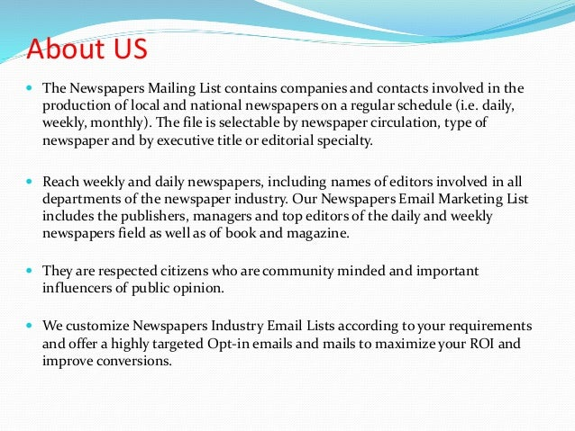 Newspapers industry mailing list