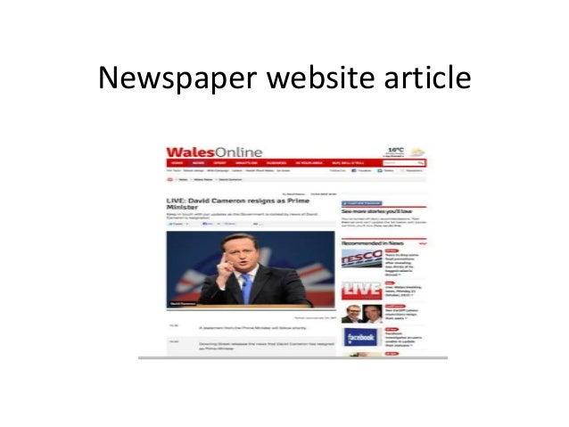 Newspaper website article