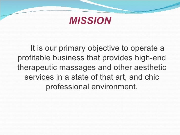 massage therapy business plan mission statement