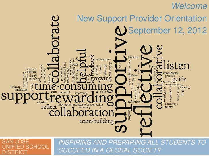 Welcome                     New Support Provider Orientation                                September 12, 2012SAN JOSE    ...