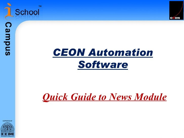 CEON Automation Software Quick Guide to News Module