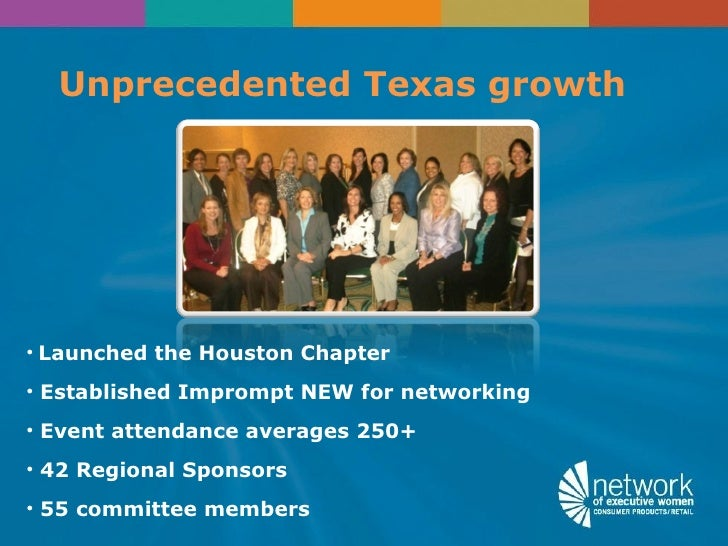 Unprecedented Texas growth• Launched the Houston Chapter• Established Imprompt NEW for networking• Event attendance averag...