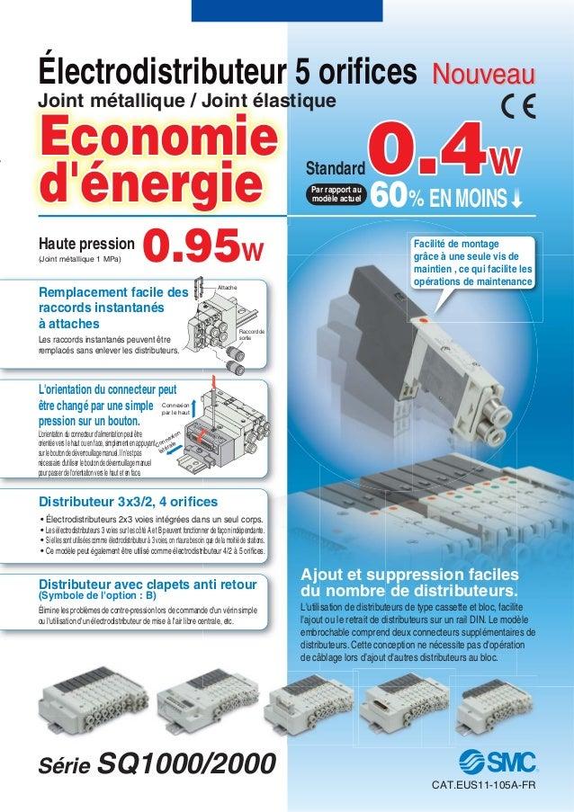 Attache Raccord de sortie Economie d'énergie Connexion par le haut Connexion latérale Électrodistributeur 5 orifices Joint...