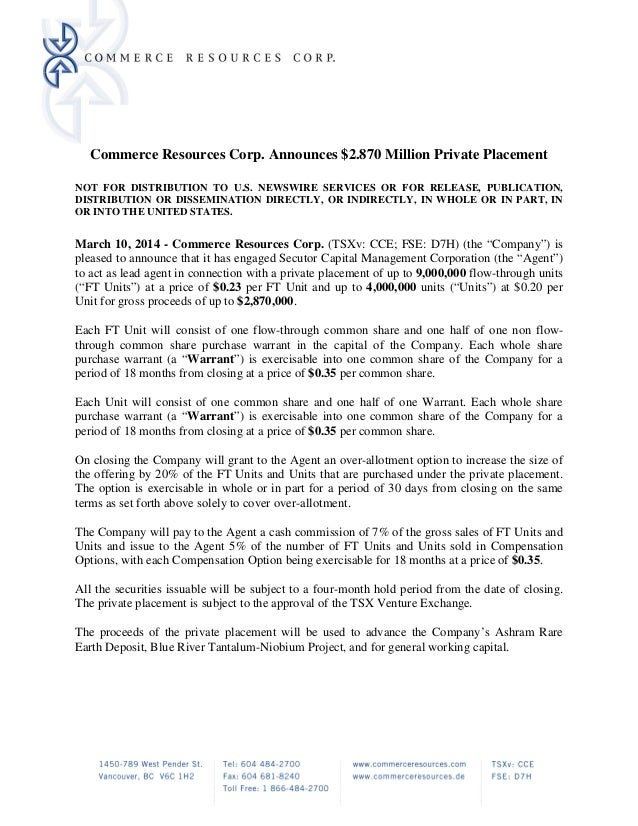 Commerce Resources Corp. Announces $2.870 Million Private Placement NOT FOR DISTRIBUTION TO U.S. NEWSWIRE SERVICES OR FOR ...