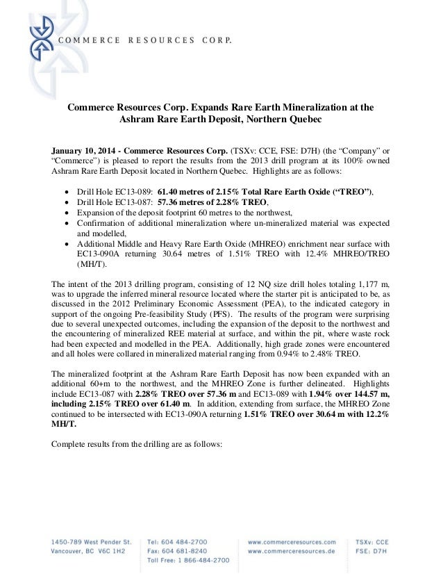 Commerce Resources Corp. Expands Rare Earth Mineralization at the Ashram Rare Earth Deposit, Northern Quebec   January 1...