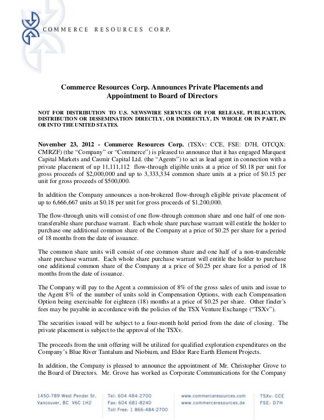 Commerce Resources Corp. Announces Private Placements and                    Appointment to Board of DirectorsNOT FOR DIST...