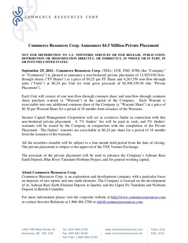 Commerce Resources News