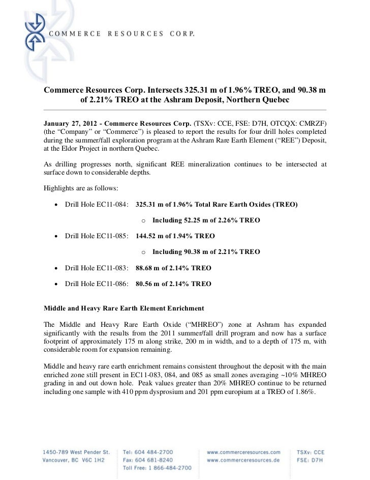 Commerce Resources Corp. Intersects 325.31 m of 1.96% TREO, and 90.38 m       of 2.21% TREO at the Ashram Deposit, Norther...