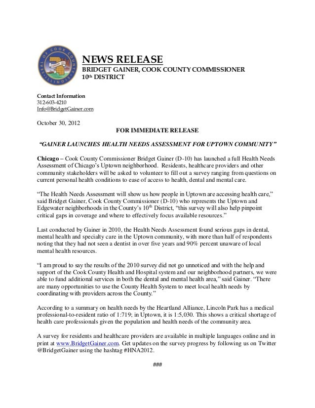 NEWS RELEASE                   BRIDGET GAINER, COOK COUNTY COMMISSIONER                   10th DISTRICTContact Information...