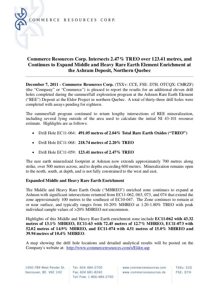 Commerce Resources Corp. Intersects 2.47% TREO over 123.41 metres, andContinues to Expand Middle and Heavy Rare Earth Elem...