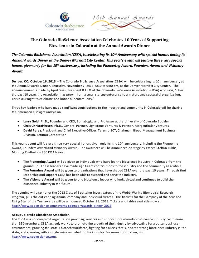 The	Colorado	BioScience	Association	Celebrates	10	Years	of	Supporting		 Bioscience	in	Colorado	at	the	Annual	Awards	Dinner...