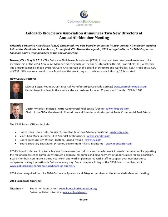 Colorado	BioScience	Association	Announces	Two	New	Directors	at		 Annual	All‐Member	Meeting	 Colorado BioScience Associa...