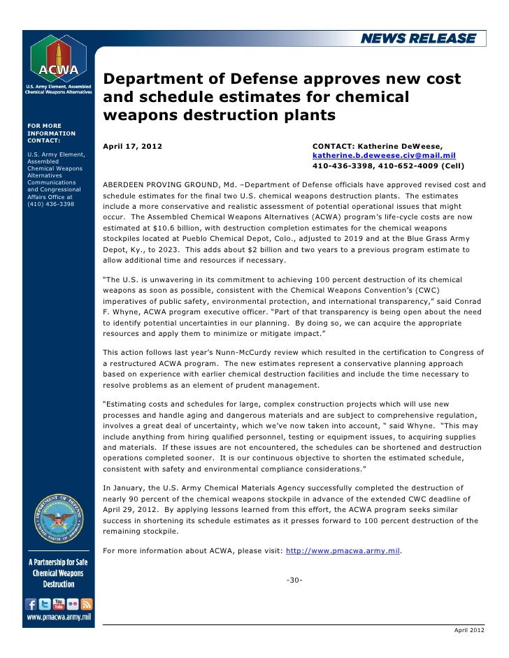 Department of Defense approves new cost                     and schedule estimates for chemical                     weapon...