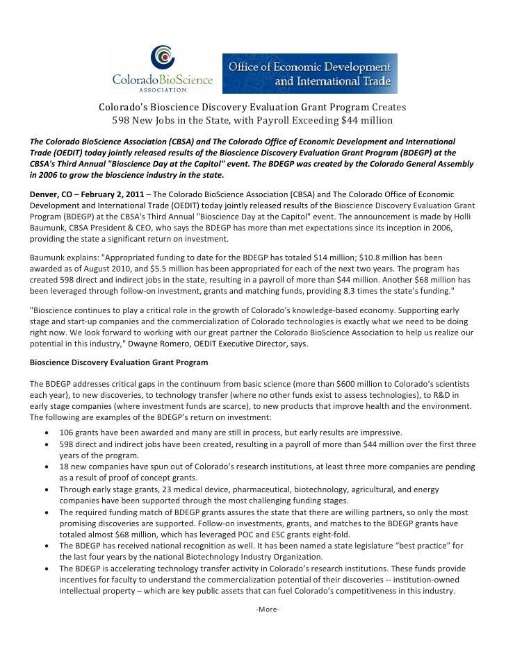 ColoradosBioscienceDiscoveryEvaluationGrantProgramCreates                     598NewJobsintheState,withPayr...