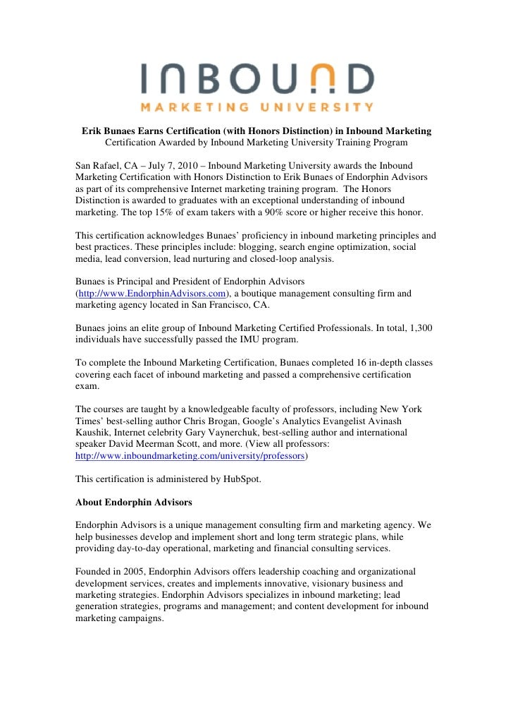Erik Bunaes Earns Certification (with Honors Distinction) in Inbound Marketing       Certification Awarded by Inbound Mark...