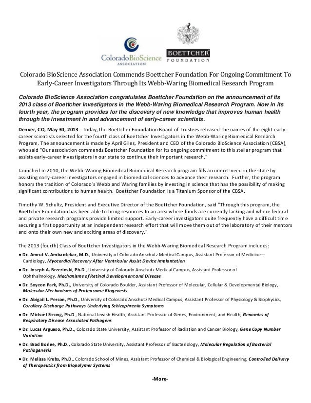 ColoradoBioScienceAssociationCommendsBoettcherFoundationForOngoingCommitmentToEarly‐CareerInvestigatorsThrough...