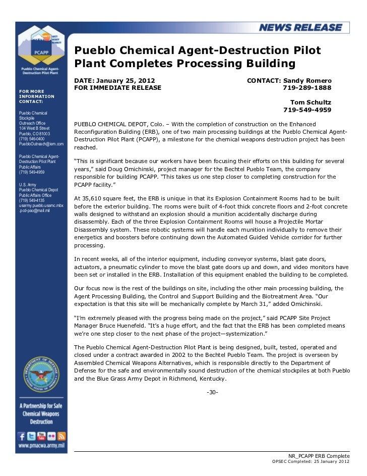 Pueblo Chemical Agent-Destruction Pilot                          Plant Completes Processing Building                      ...