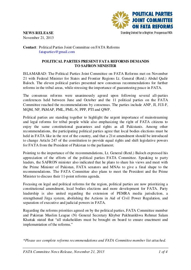 NEWS RELEASE November 21, 2013 Contact: Political Parties Joint Committee on FATA Reforms fataparties@gmail.com POLITICAL ...