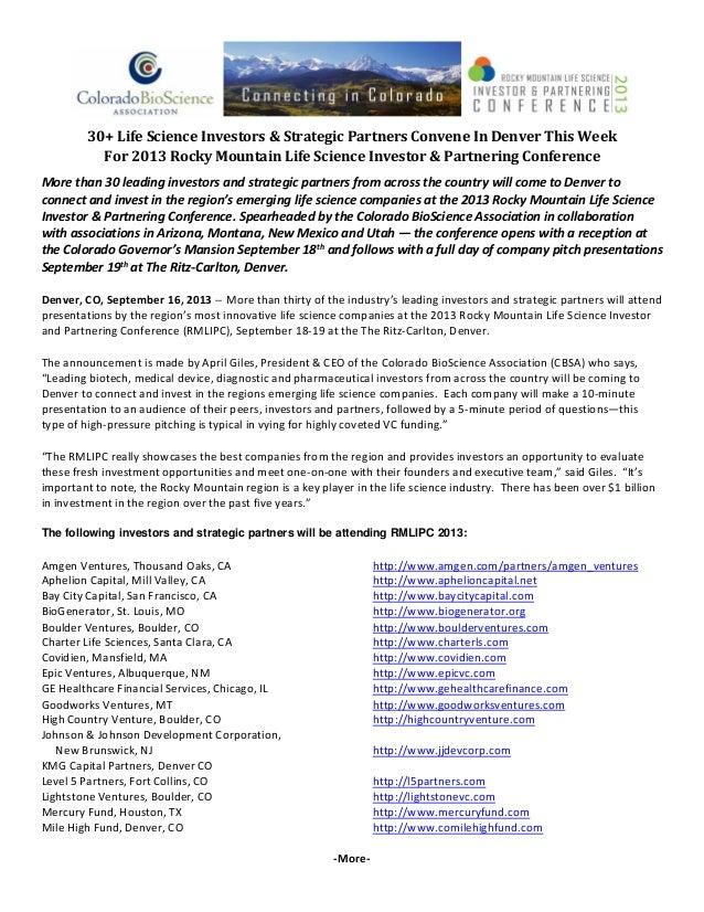 30+LifeScienceInvestors&StrategicPartnersConveneInDenverThisWeek For2013RockyMountainLifeScienceInvesto...