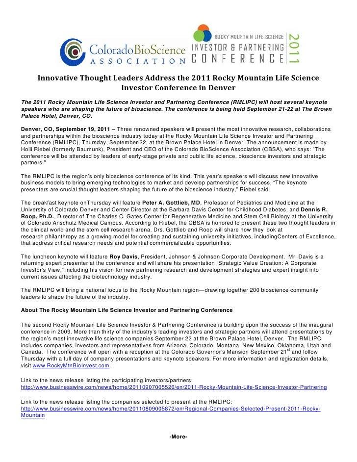 InnovativeThoughtLeadersAddressthe2011RockyMountainLifeScience                           InvestorConferencein...