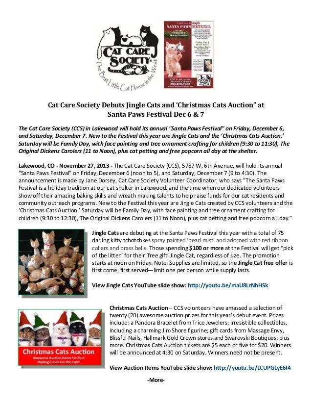 "CatCareSocietyDebutsJingleCatsand'ChristmasCatsAuction""at SantaPawsFestivalDec6&7   TheCatCareSociet..."