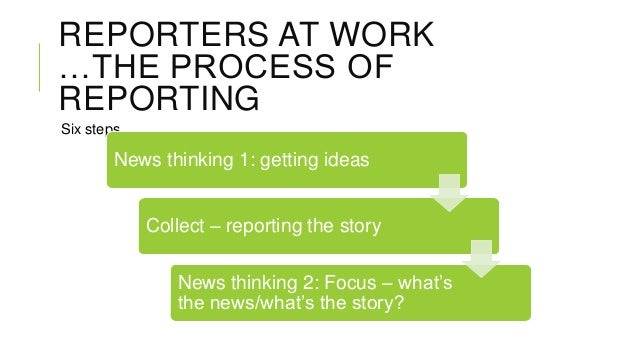 REPORTERS AT WORK …THE PROCESS OF REPORTING Six steps  News thinking 1: getting ideas Collect – reporting the story News t...