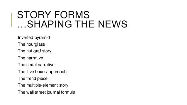 STORY FORMS …SHAPING THE NEWS Inverted pyramid The hourglass The nut graf story The narrative The serial narrative The 'fi...