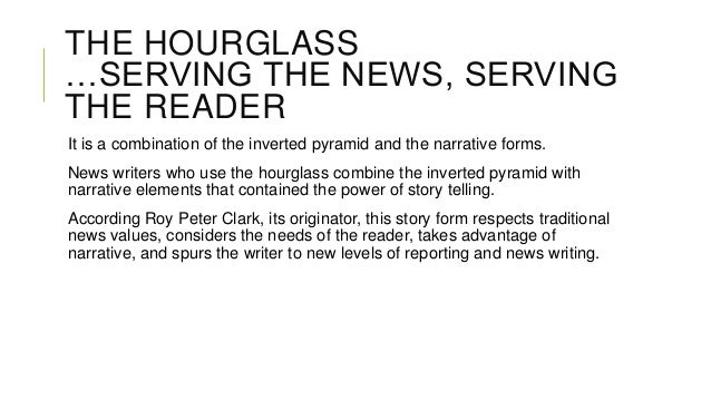 THE HOURGLASS …SERVING THE NEWS, SERVING THE READER It is a combination of the inverted pyramid and the narrative forms. N...