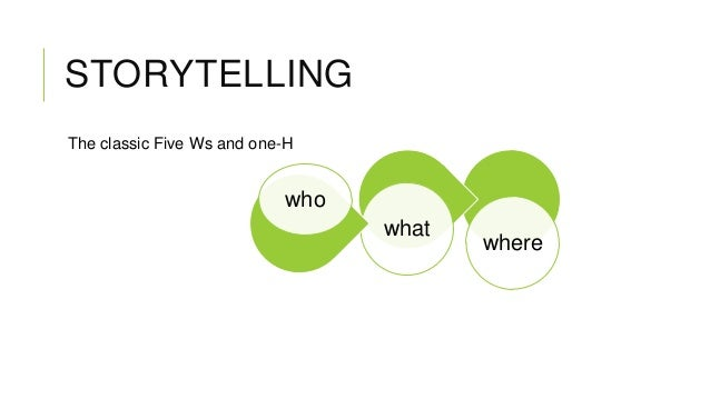 STORYTELLING The classic Five Ws and one-H  who what  where